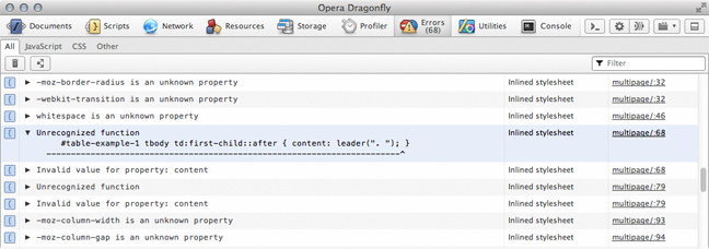 Opera Dragonfly Error Log