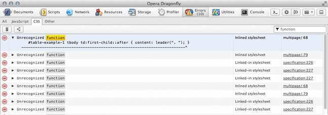 Opera Dragonfly Error Log filter function, showing only errors containing 'function'