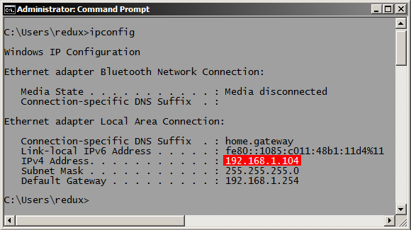 Finding the IP Address in Windows, using the Command Prompt and ipconfig
