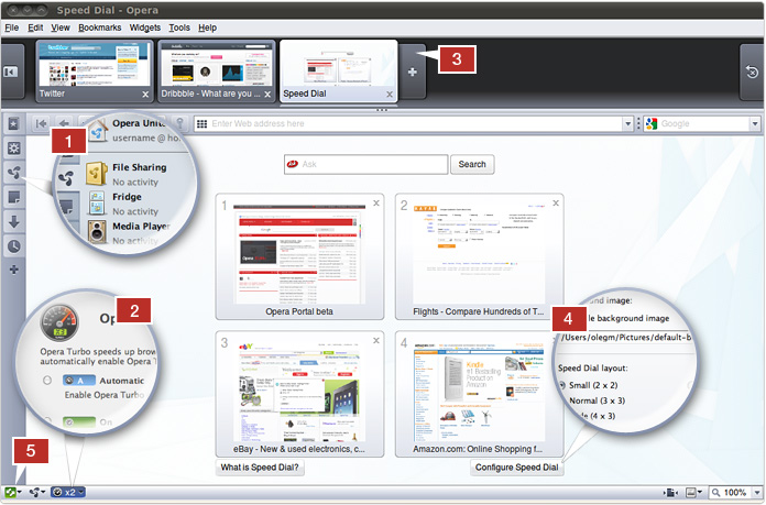 Opera browser view with five highlighted features