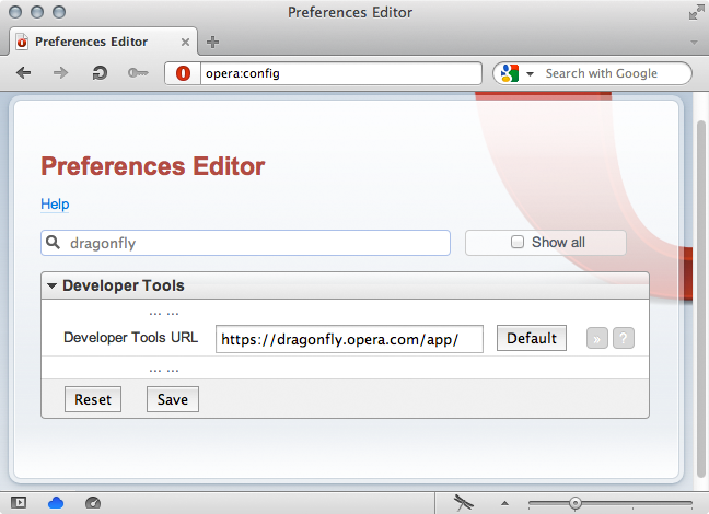 Opera's opera:config page, showing the Developer Tools > Developer Tools URL text entry field.