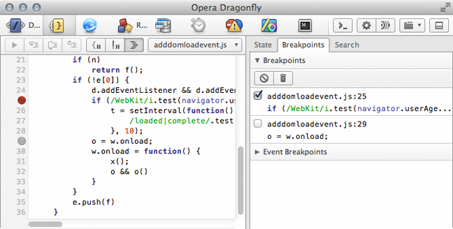 Line breakpoints – one enabled, one disabled – as seen in the script's source and the breakpoints sub-panel