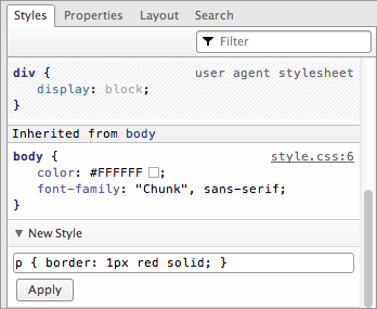 Adding a new CSS block, complete with selector and different properties