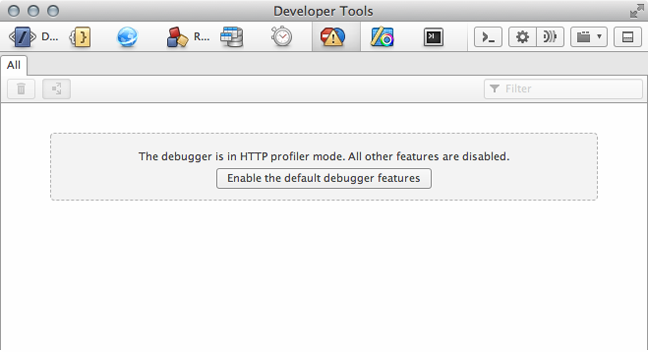 When in HTTP profiler mode, other tools in Opera Dragonfly are disabled and need to be enabled.