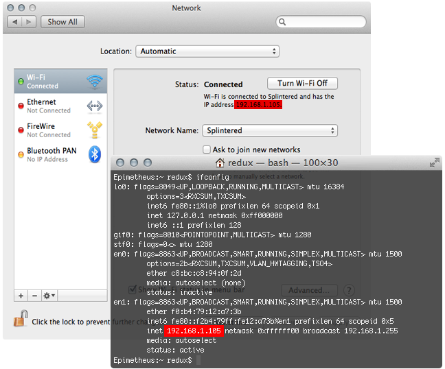 Finding the IP Address in OS X using Network preferences and ifconfig in the terminal