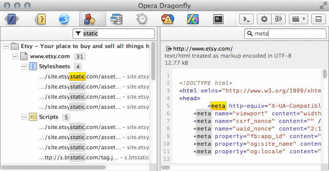 Filtering and searching in Opera Dragonfly's resources panel