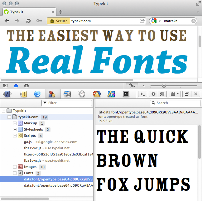 Preview of an opentype font resource in the detailed resources view