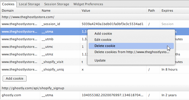 The cookie context menu